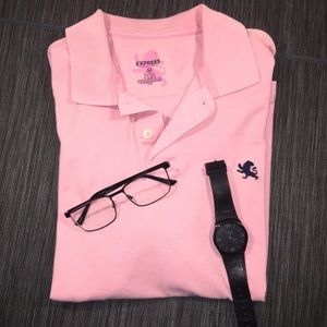 Men's Fitted Pink Classic Express Polo